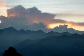 Sunset from Rif Tuckett, Benta Dolomites