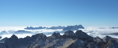 Cloud Inversion from Marmolada as seen on West Ridge via Ferrata to summit.