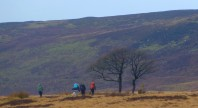 Navigating Up Crookstone Hill, Dark Peak, Peak District.