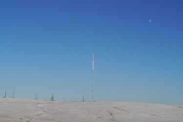 Winter Hill with the Moon and Transmitter