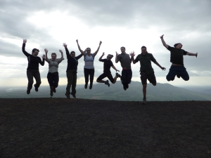 Celebration in reaching the summit.