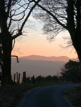 Sunset from Scales, below Blencathra, Lake District.