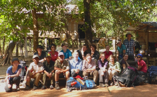 Our Trekking Group at Tra village,  Won Son, Mr Banana and Buni at the front (l-r)