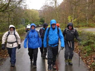 Setting off in the rain from Bowden Bridge.