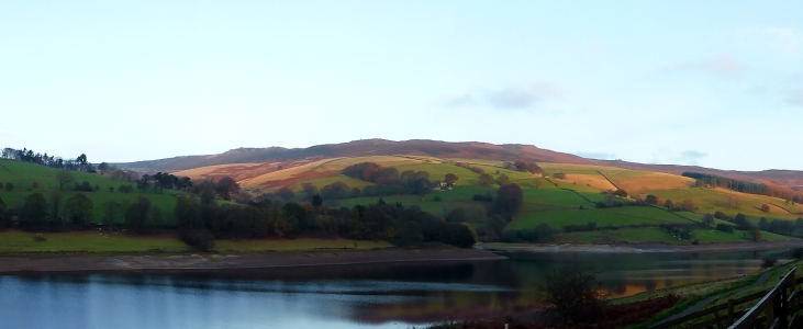 Derwent Edges across Ladybower Reservoir, evening view