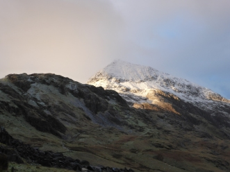 Early morning sun hits Crib Goch.
