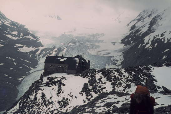 Ramol Hause hut perched above Gurgler Glacier.