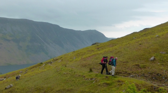 Heading up Overbeck, Rob and Steve with our extra food supply. The Screes behind.