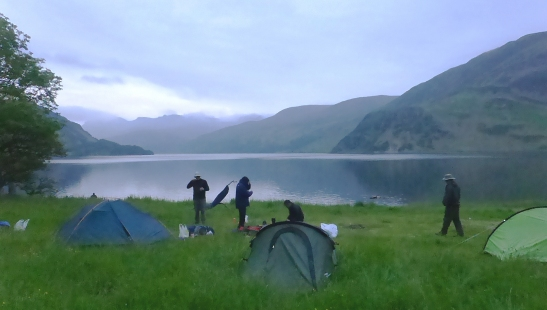 Campsite beside Ennerdale Water. Our walk of the day finally seen as the cloud lifts.