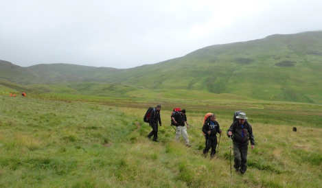 Dropping down from Floutern Tarn Pass. Note a DofE group behind us.