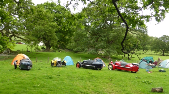 Three wheeler Morgans on Rally at Buttermere.