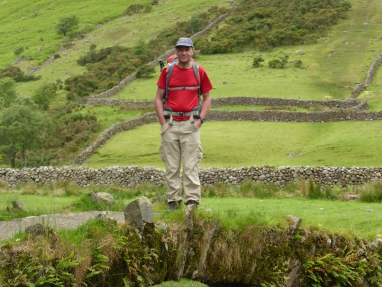 Its me on the Packhorse Bridge over Mosedale Beck at Wasdale Head