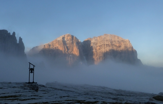 Mist Clearing from the Rif Alimonta rememberance bell across to Cima Tosa.