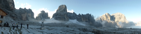 Panorama from Rifugio Alimonta, looking up to the strat of Bocchette Alte, going left and Centrali, going right from the glacier.