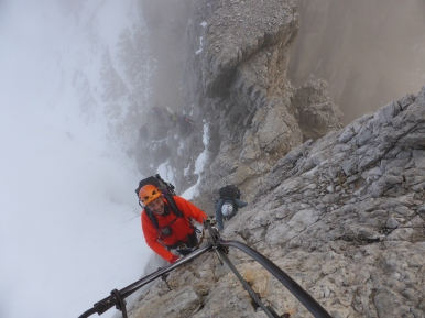 Approaching top of the ladders at start of Via Delle Bocchette