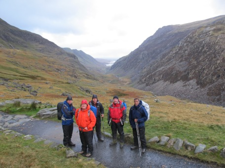Heres the group (less DIck behind the camera) setting off from Pen Y Pass